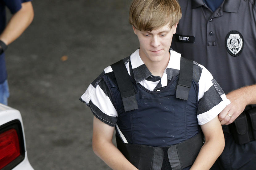 Dylann Storm Roof is escorted from the Cleveland County Courthouse in Shelby, N.C. on June