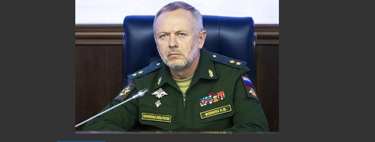 Deputy Defense Minister Alexander Fomin attends a briefing in the Defense Ministry in Moscow, Russia, Friday, May 5, 2017. Russia's military says the agreement setting up four de-escalation zones in Syria will go into effect at midnight. The military also says the deal, which was signed by Russia, Iran and Turkey in Kazakhstan the day before, could be extended to more areas of the war-torn country.