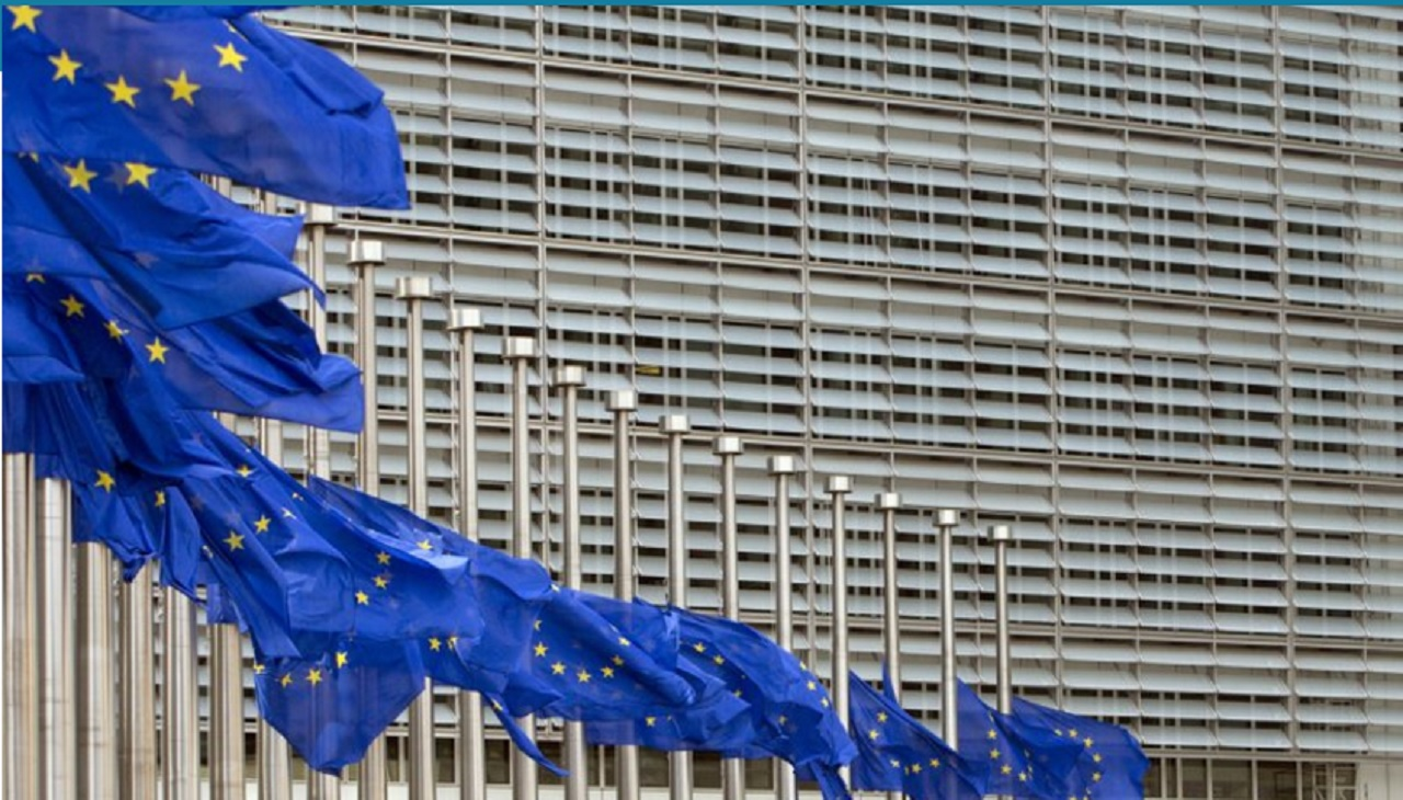 European Union flags blow in the wind at half-staff outside EU headquarters in Brussels on Tuesday, May 23, 2017. The flags were set at half-staff to remember those killed and injured in the attack at an Ariana Grande concert in Manchester on Monday night.