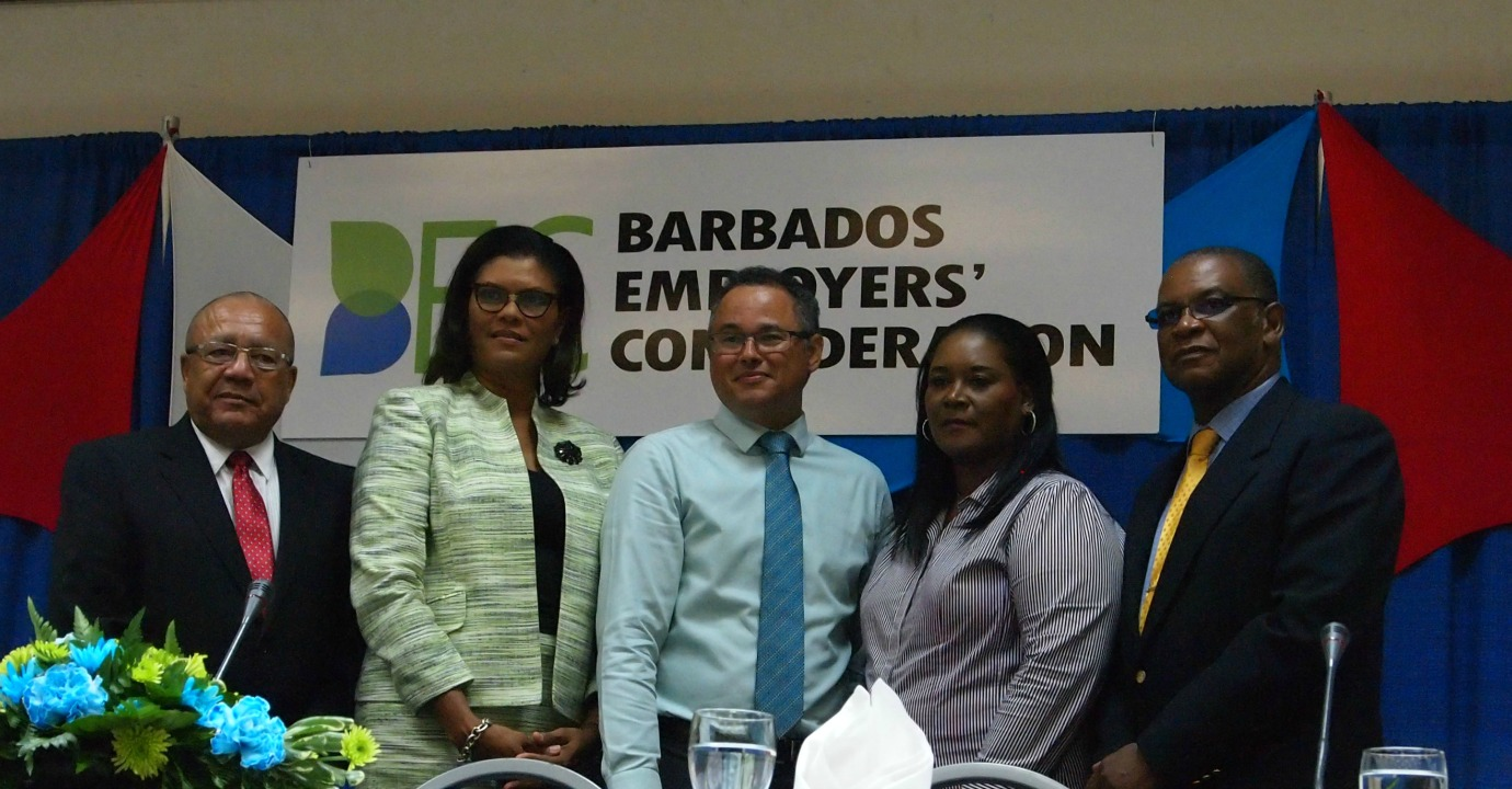 From left: Executive Director of the Barbados Employers' Confederation (BEC), Tony Walcott, President of the BEC, Marguerite Estwick; Managing Director of the Barbados Light & Power, Roger Blackman; Diana Douglas, BEC 2nd Vice President; Everton Browne 1st Vice President