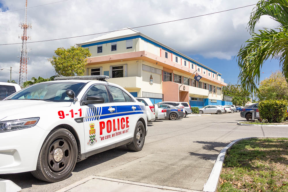Royal Cayman Islands Police Service (RCIPS) police car outside of station.