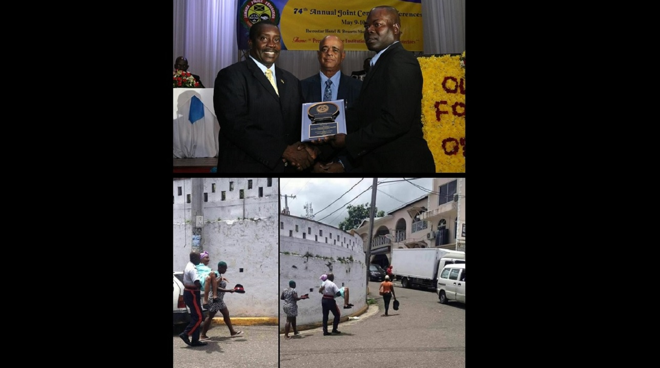 At top, (from left) National Security Minister Robert Montague and Police Commissioner George Quallo present Constable Richard Plummer with an award for his act of kindness in helping an elderly woman who suffered a fall (pictured at bottom).