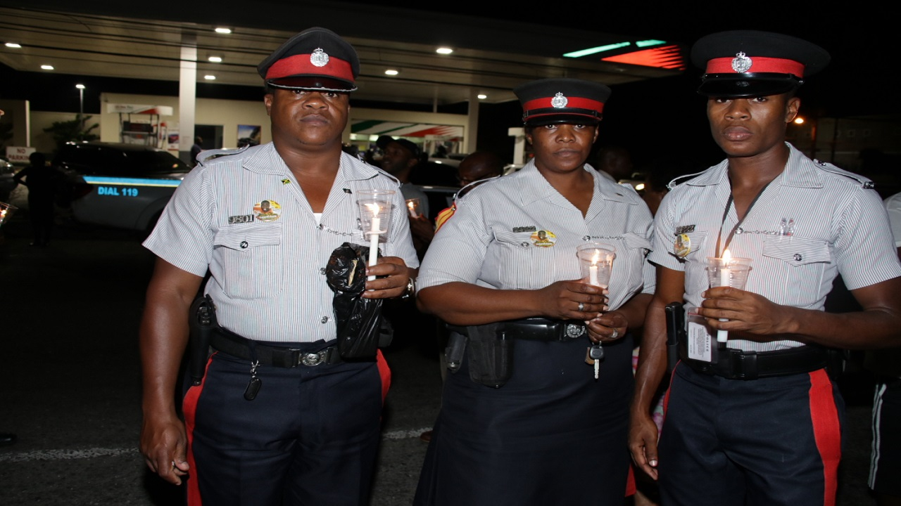 The vigil, organised by the Jamaica Police Federation was held at the spot where  Constable Leighton Hanson was killed.