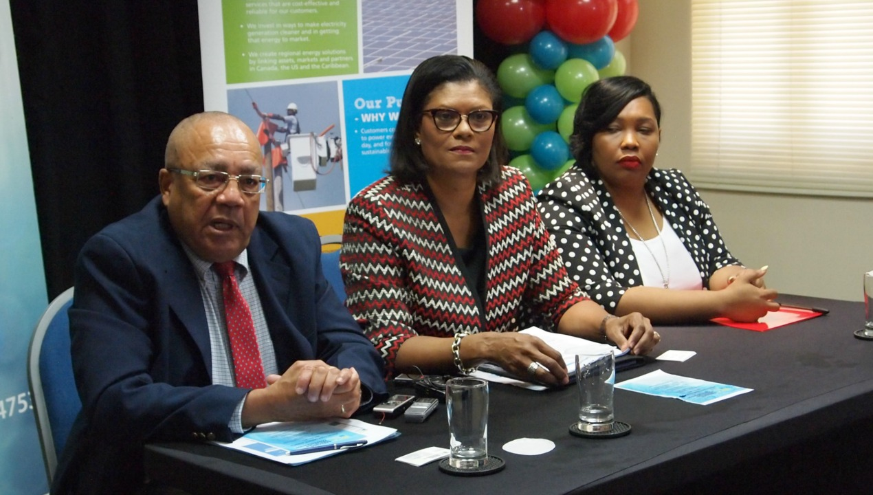 From left: Executive Director of the Barbados Employers' Confederation, Tony Walcott; President of BEC Marguerite Estwick, Kim Griffith-Tang of the Barbados Light & Power