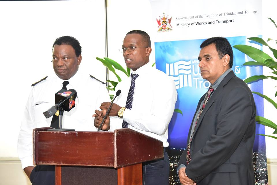 Minister of Works and Transport Rohan Sinanan, Transport Commissioner Wayne Richards and Director - Information Technology Clive Clarke, during a Question and Answer segment at the launch of the new Vehicle Validation System