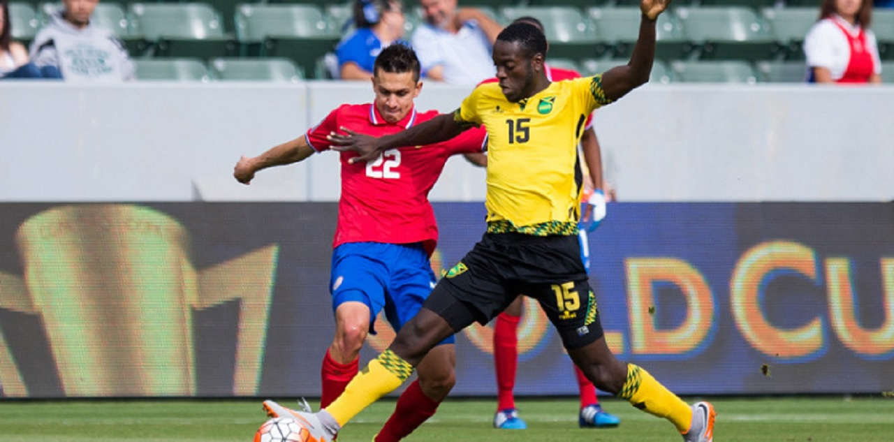 Action from a CONCACAF Gold Cup match between Costa Rica and Jamaica (yellow jersey) on July 8, 2015, in Carson, California.
