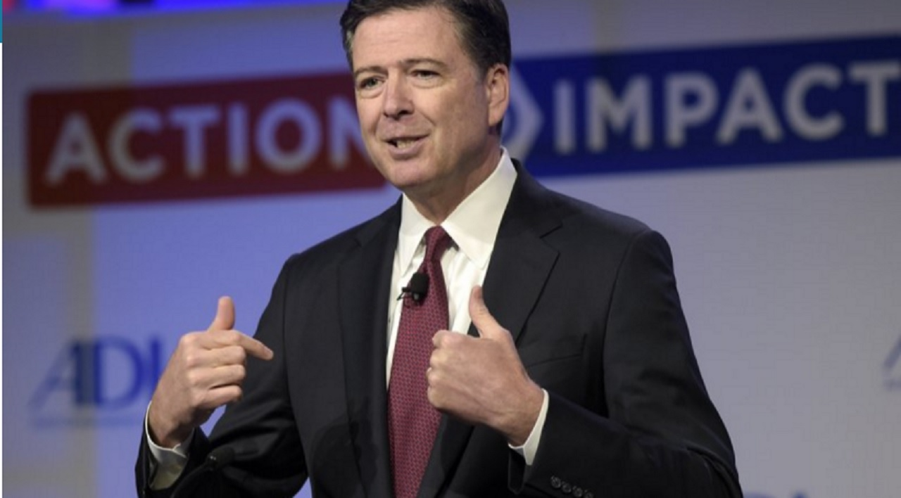 In this May 8, 2017, file photo, then-FBI Director James Comey speaks to the Anti-Defamation League National Leadership Summit in Washington. The White House is disputing a report that President Donald Trump asked Comey to shut down an investigation into ousted national security adviser Michael Flynn.