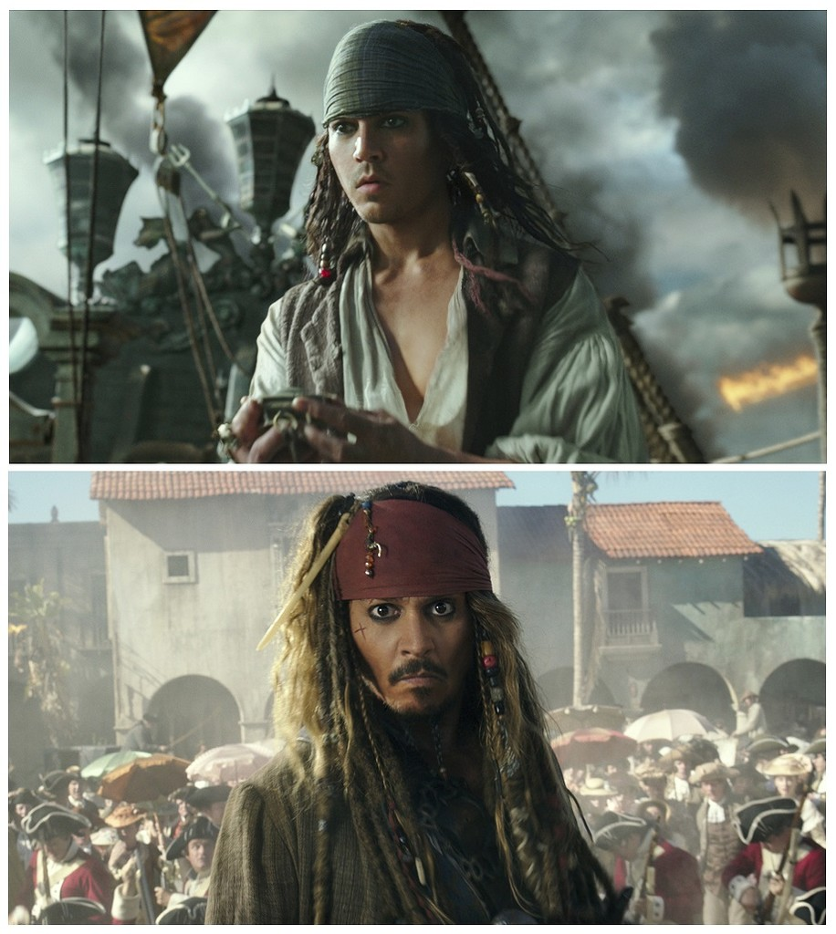 "This combination of photos released by Disney, shows the character Jack Sparrow at two stages of his life in ""Pirates of the Caribbean: Dead Men Tell No Tales."" Johnny Depp, who portrays the character, is the latest mega-star to get the drastic de-aging treatment on screen. (Disney via AP"
