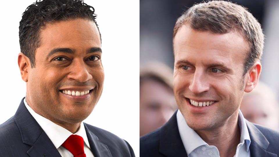 Montage photo entre Jerry Tardieu et Emmanuel Macron