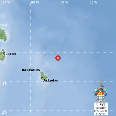 The earthquake was 98 km northeast of Barbados.