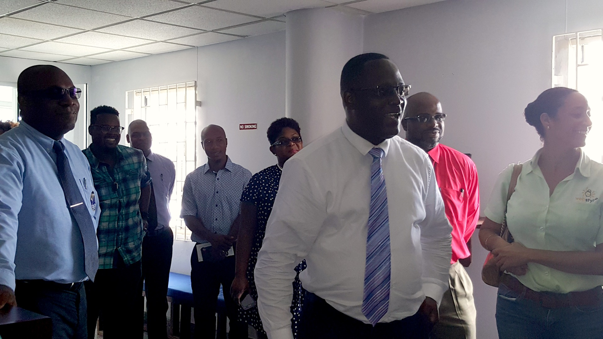 Minister Donville Inniss touring BEC
