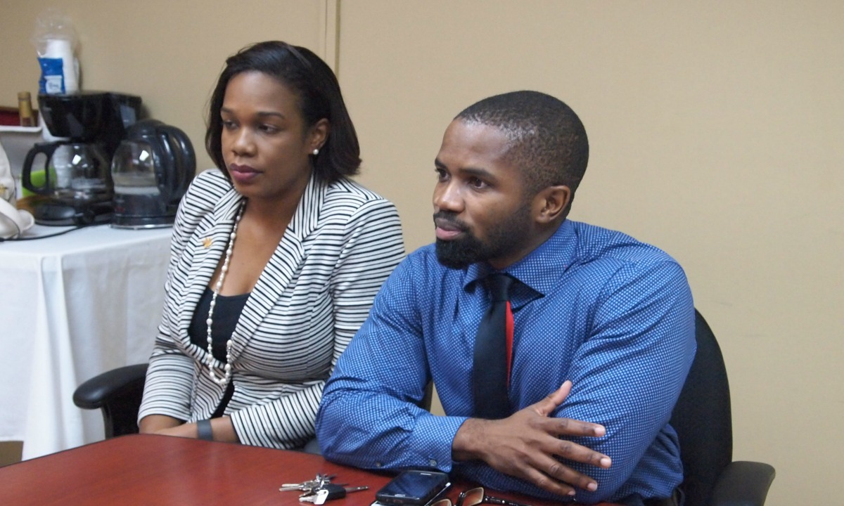 From left: Janelle Morris, Chairperson of Training and Development with the Human Resources Management Association of Barbados (HRMAB); President of HRMAB, Shane Howell