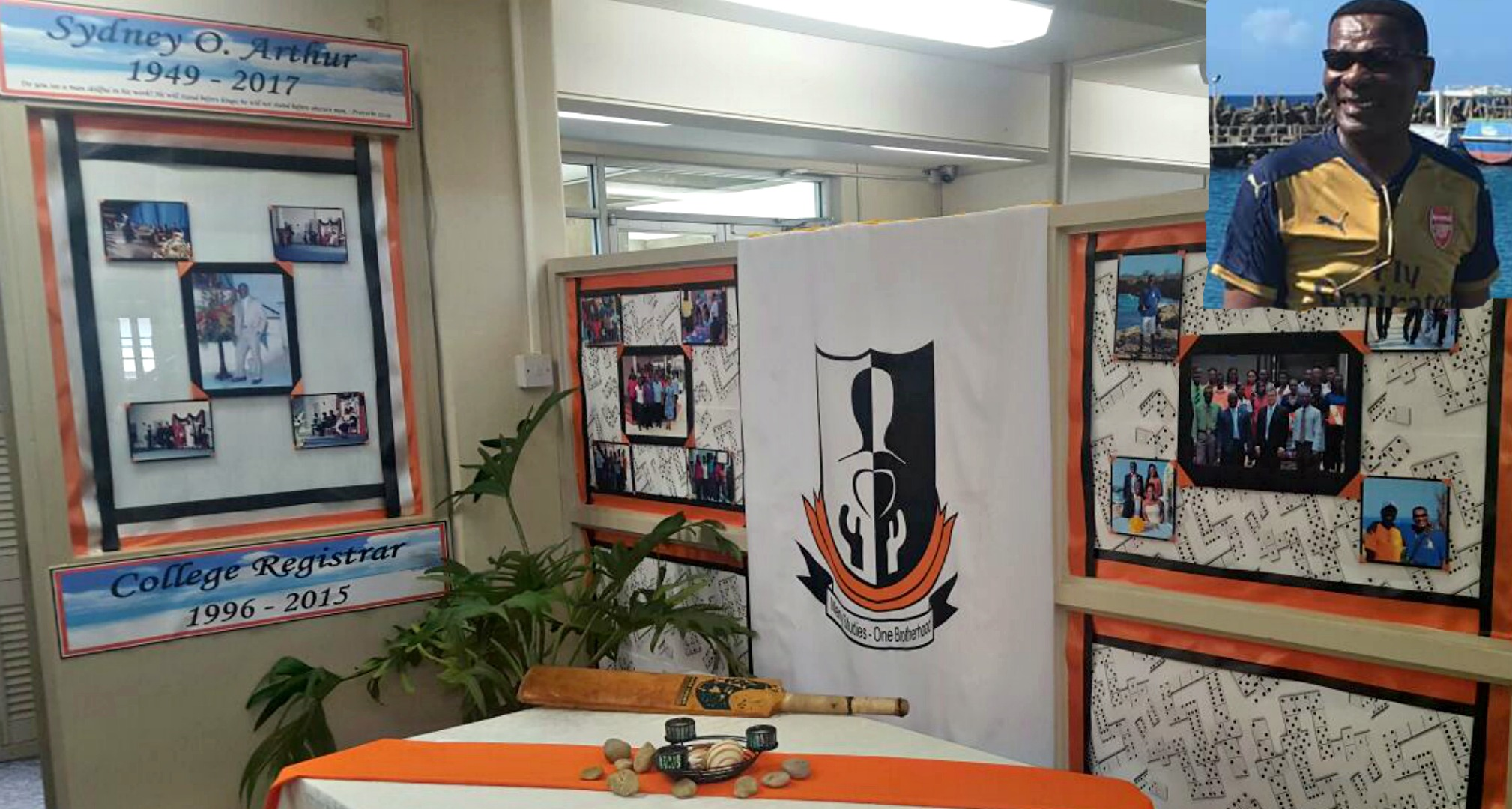 Tribute at the Barbados Community College (BCC). Inset - Sydney O. Arthur.