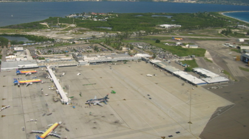 An aerial view of the Norman Manley International Airport.