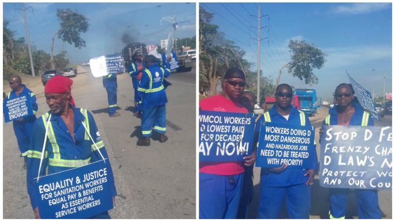 Sanitation workers carry out strike action at landfills