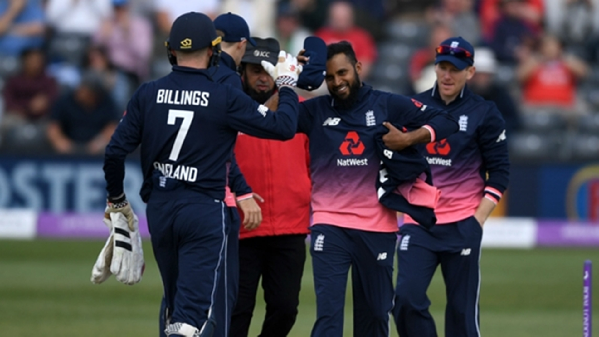 England players celebrating a wicket during the first One-Day International against Ireland on Friday in Bristol.