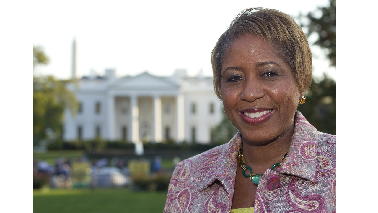 In this October 18, 2011 file photo, the then-incoming White House chief usher Angella Reid is photographed in Lafayette Park across from the White House in Washington. (PHOTO: AP)