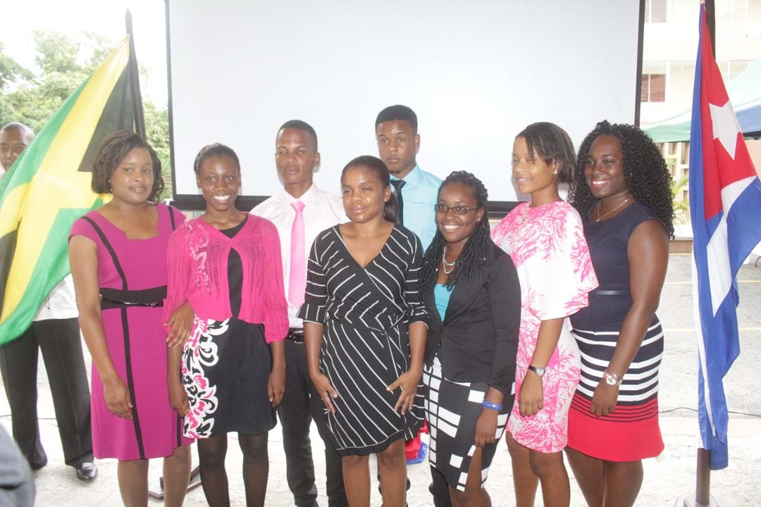 The eight students who received scholarships to study medicine and specialities related to medical science in Cuba.