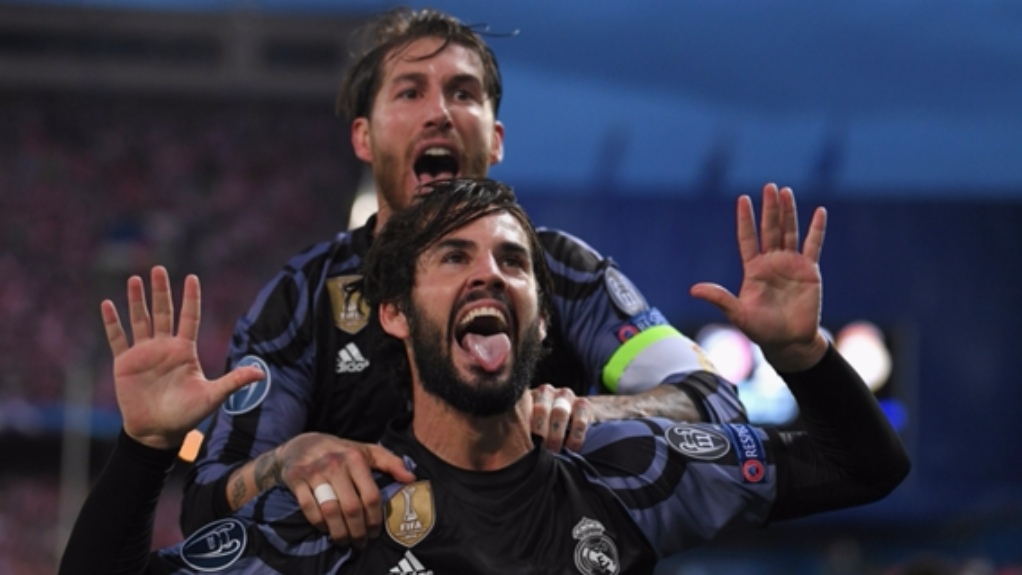Sergio Ramos and Isco celebrate for Real Madrid against Atletico Madrid