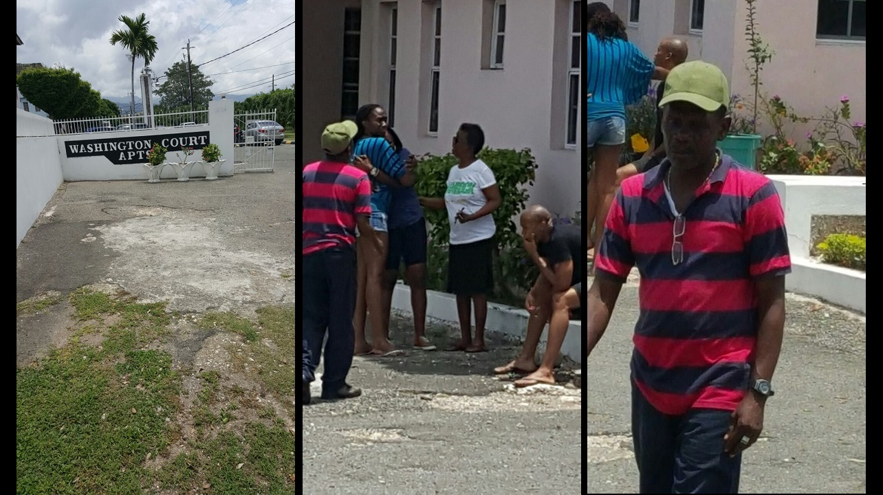 Persons react to the death of the children at the Washington Court apartment complex in St Andrew on Saturday morning.
