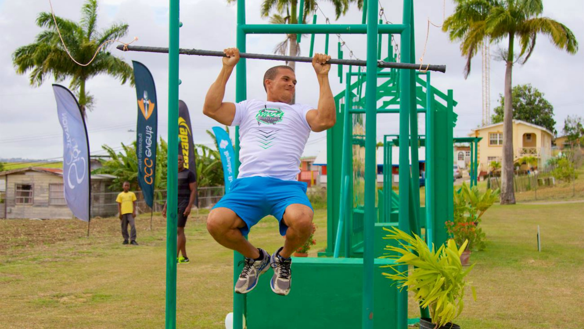 Delano Hinds, organiser of the Barbados Ninja Throwdown, demonstrating one of the obstacles on the course. (Photo: Life After Gravity)