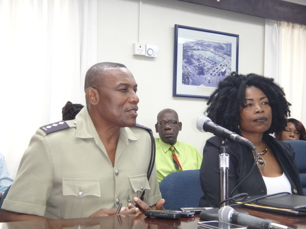 Left to right: Assistant Superintendent of Police, Ronald Stanford and  President of the Barbados Road Safety Association, Sharmane Roland-Bowen.