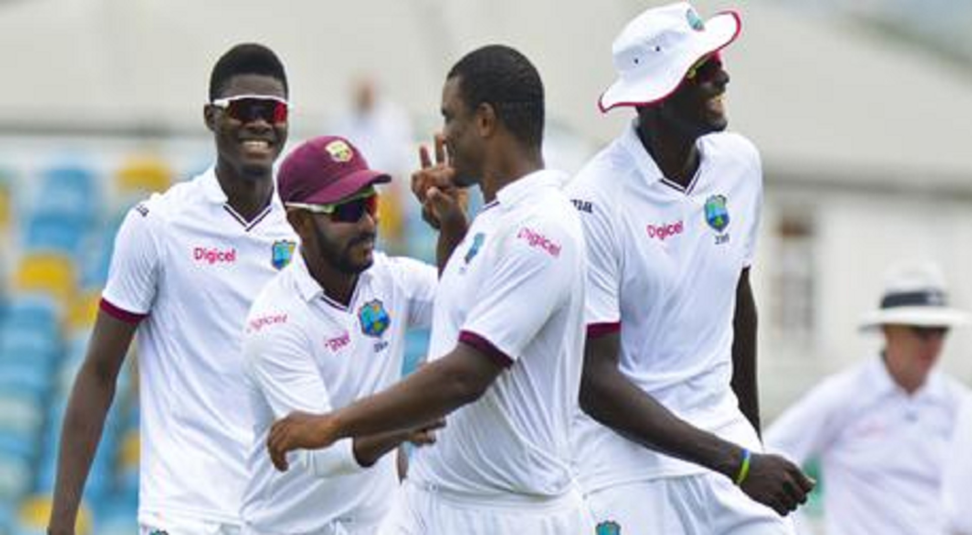 West Indies speedster Shannon Gabriel (centre) celebrates with teammates after taking a wicket on the final day of the second Test against Pakistan on Thursday. Gabriel ended with five for 11 from 11 overs to lead West Indies to a 106-run victory.