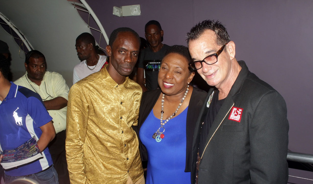 "Reggae Sumfest boss Josef Bogdanovich (right) with dancehall veteran Ninjaman and Entertainment Minister Olivia ""Babsy"" Grange at the launch of the event at Usain Bolt's Tracks and Records on Thursday. (PHOTO: Marlon Reid)"