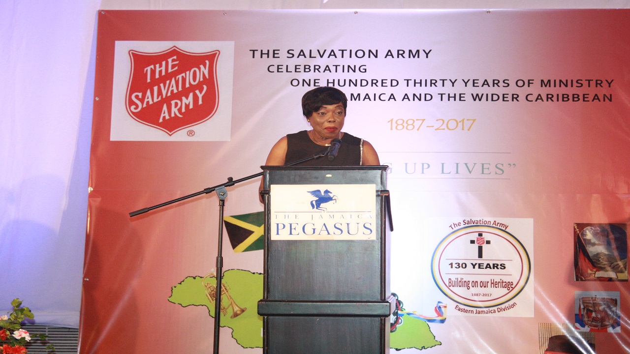 Deputy Commissioner of Police (DCP) Novelette Grant speaking at the Salvation Army Eastern Jamaica Division's Fund-Raising Dinner on Wednesday.