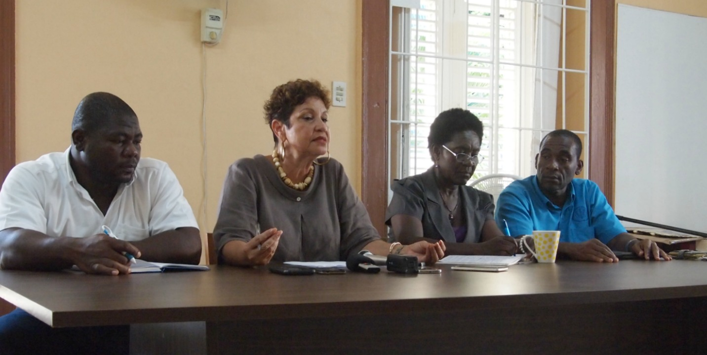 From left: General Secretary of the Barbados Secondary Teachers Union, Andrew Brathwaite; President, Mary Redman; Deputy General Secretary, Monica Harewood, 1st Vice President, Erskine Padmore