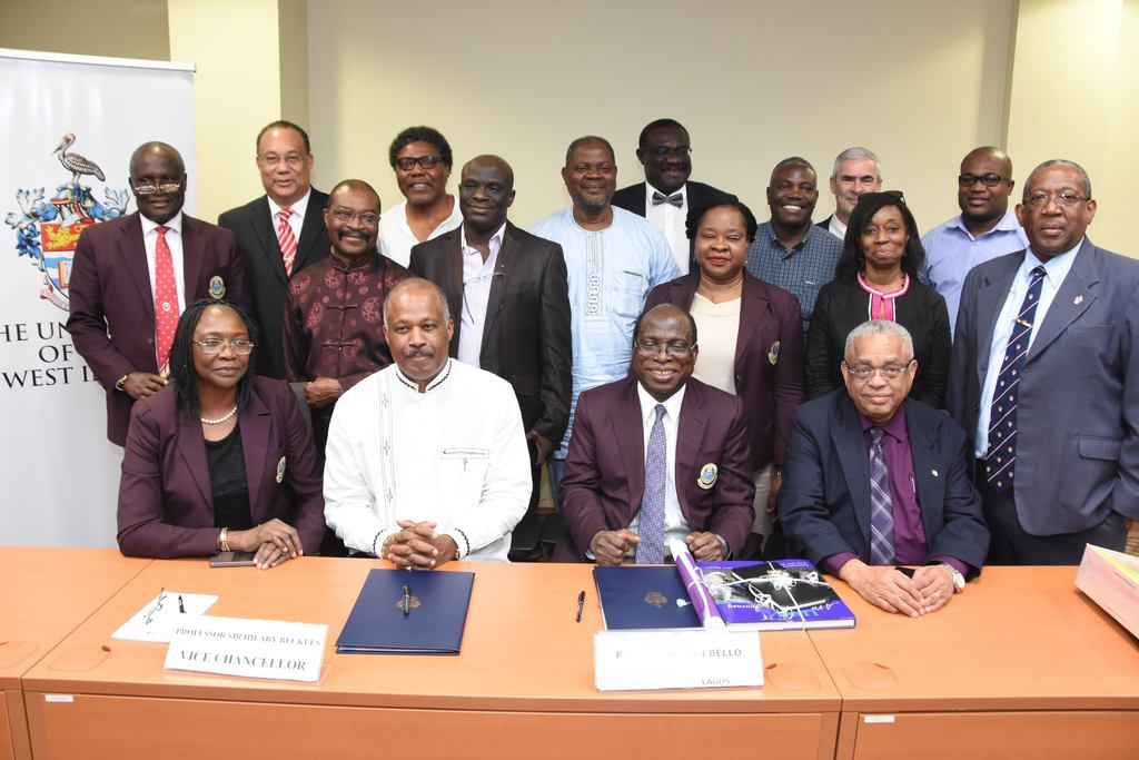 UWI Vice-Chancellor, Professor Sir Hilary Beckles, and Vice-Chancellor UNILAG, Professor Rahamon Bello (2nd right) with colleagues from both universities following the signing of the memorandum of understanding at The UWI Regional Headquarters on May 17th  to establish the UNILAG – UWI Institute of African and Diaspora Studies.