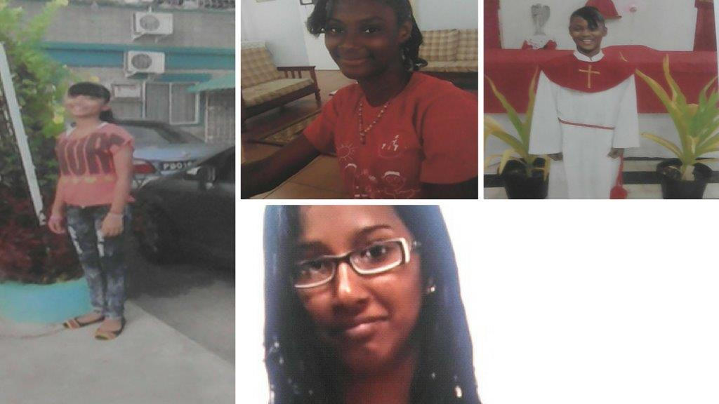 Missing girls, from left: Parbatee Ragbir, Angel Farrel, Niana Farrel and Sumintra Jaikaran