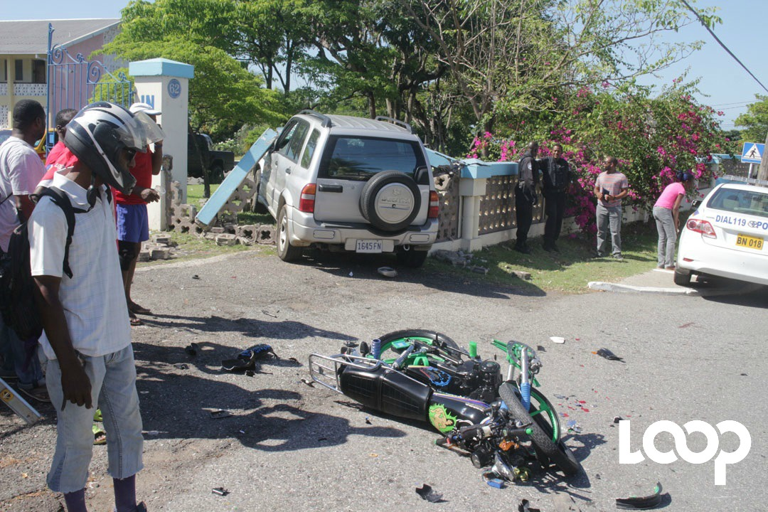This Suzuki Vitara ended up in a wall along Shortwood Road in St Andrew after colliding with a motorcycle