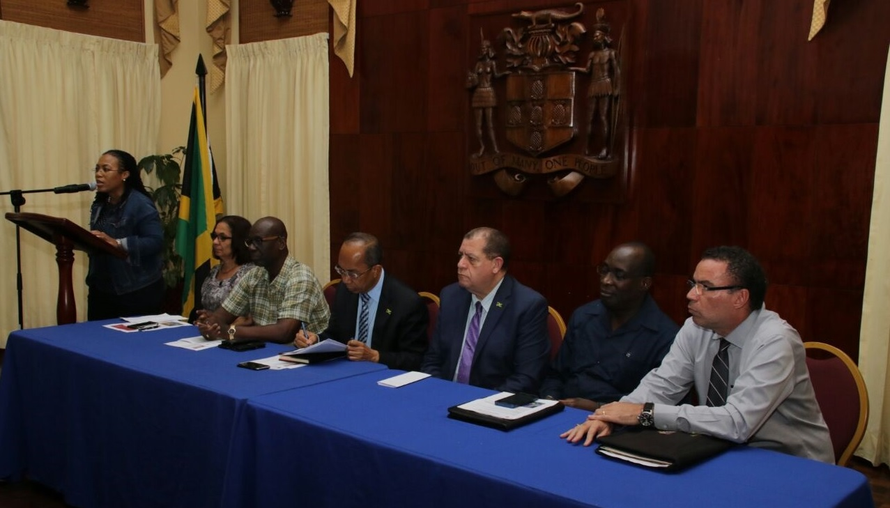 Naomi Francis (left), press secretary to Prime Minister Andrew Holness, addresses journalists at the OPM on Tuesday evening. Seated (from left) are Cabinet members Shahine Robinson, Desmond McKenzie, Dr Horace Chang, Audley Shaw, Ruel Reid and Daryl Vaz.