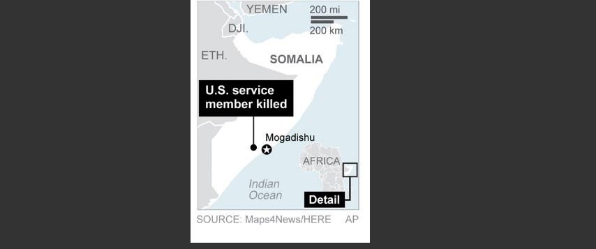 Graphic shows location of U.S. service member killed in Somalia.