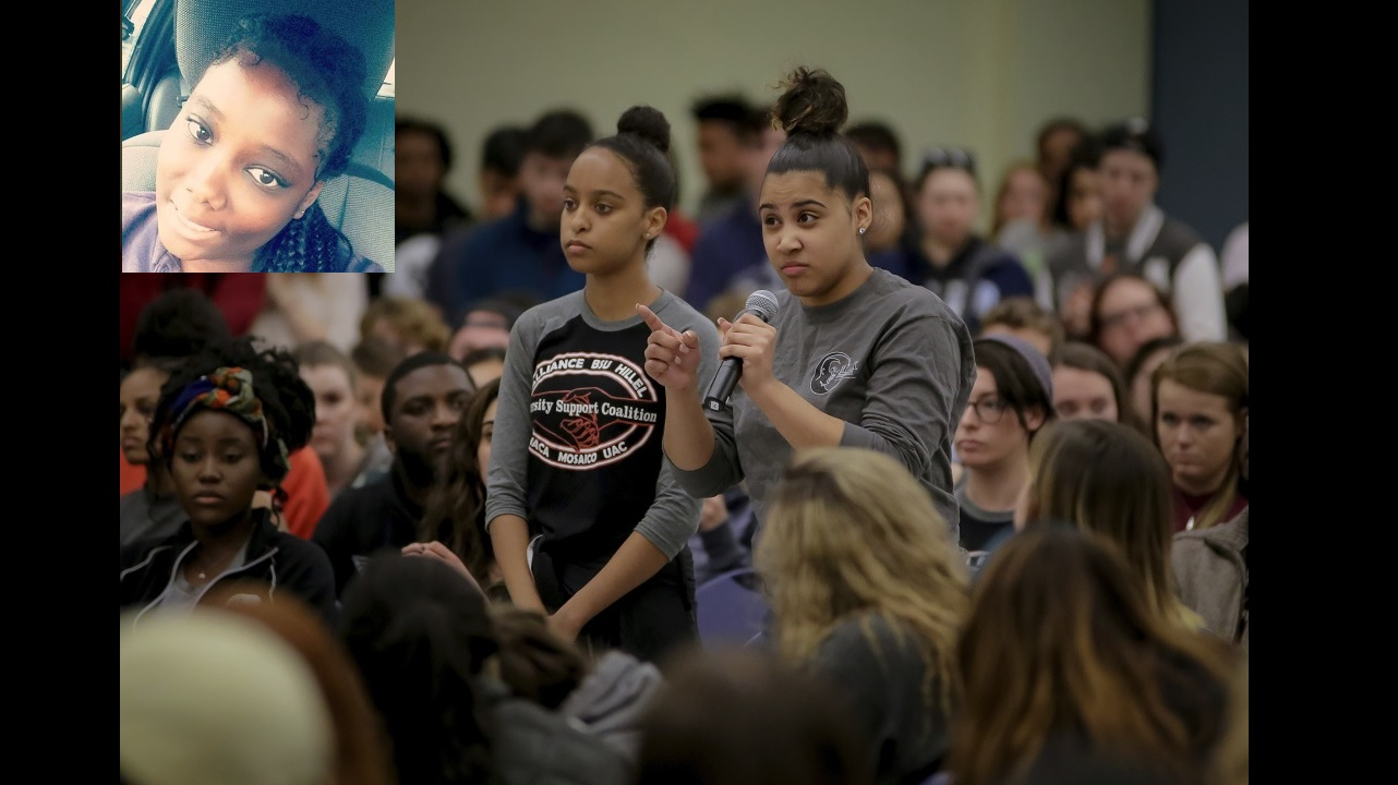 A University of New Hampshire student upset with racism and racial tensions on campus blast University administrations during a forum Thursday. (PHOTO: AP) (Inset: Danique Montique, the Jamaican student who reportedly triggered the controversy)