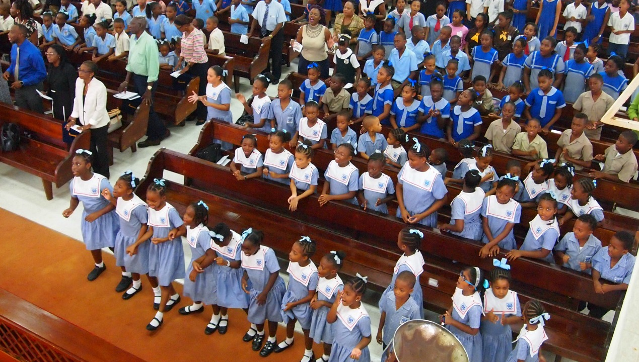 Students who attended the Child Care Board's Child Month church service.