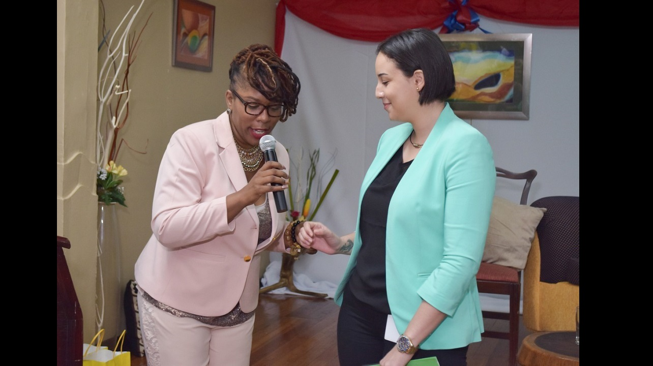 SSL asset manager Kelley Reid (right) with Fabulous Life Conference host Dennise Williams at the event held at the Liguanea Club in St Andrew over the weekend.