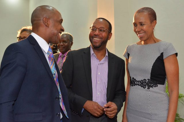 Minister of State in the Ministry of Finance and Public Service, Hon. Fayval Williams (right), Executive Director of the Tourism Product Development Company (TPDCo), Dr. Andrew Spencer (left); and Director of the University of the West Indies' (UWI) Centre for Tourism and Policy Research and Chairman of the GATFFEST Film Festival, Professor Ian Boxill.