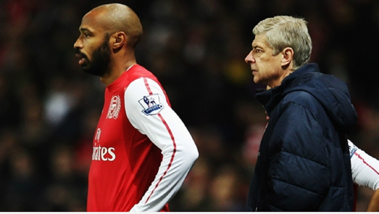Thierry Henry and Arsenal manager Arsene Wenger.