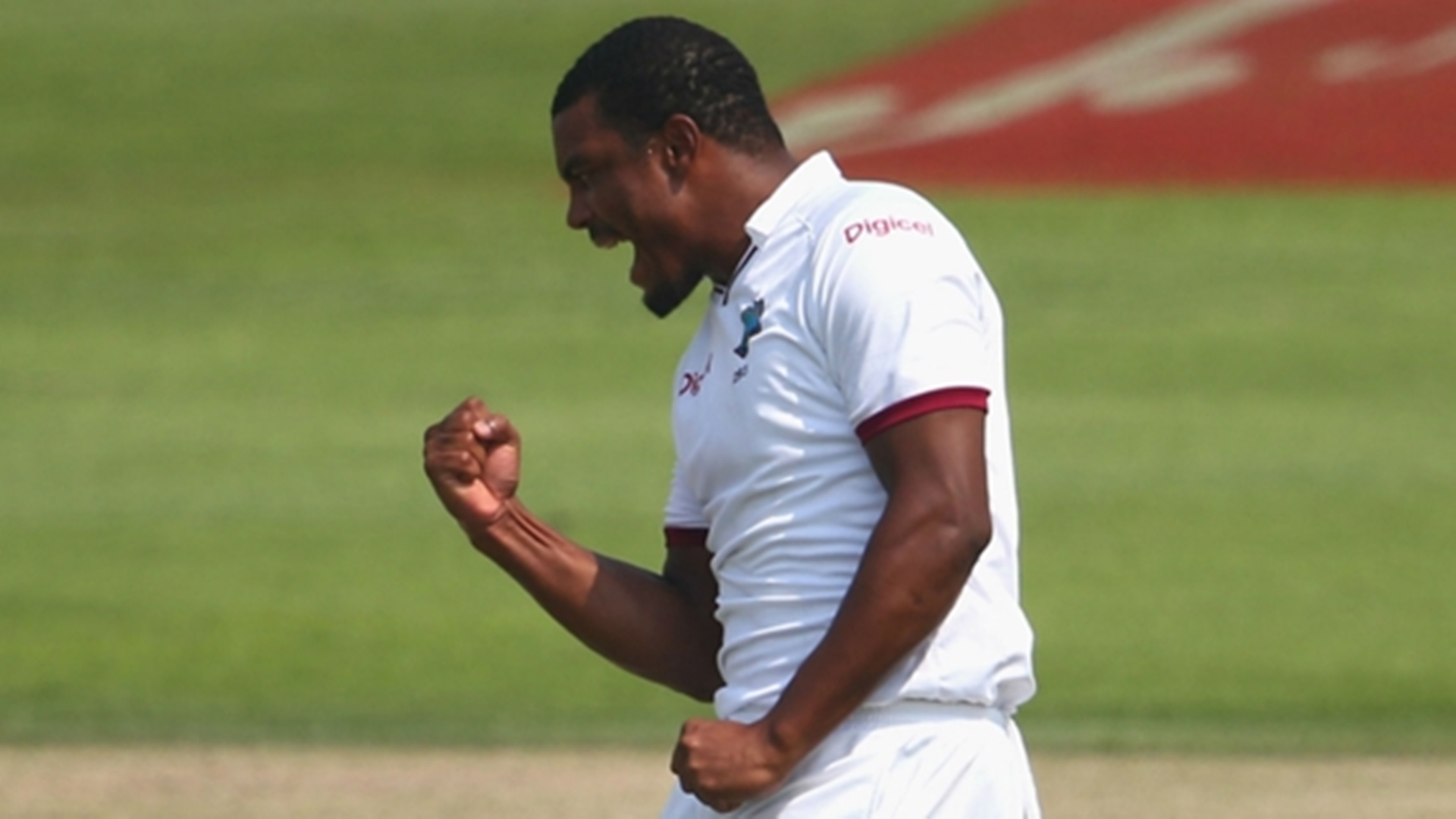West Indies pacer Shannon Gabriel celebrates a wicket during the final day of the second Test against Pakistan in Barbados on Thursday. West Indies won by 106 runs to level the series.