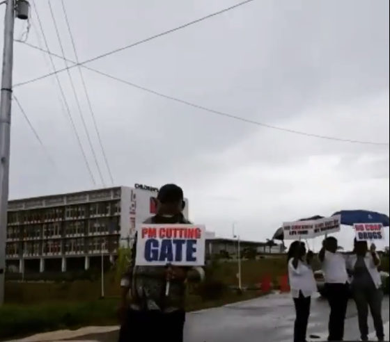 UNC protesters outside the unopened Couva Children's Hospital last Friday, May 12, 2017