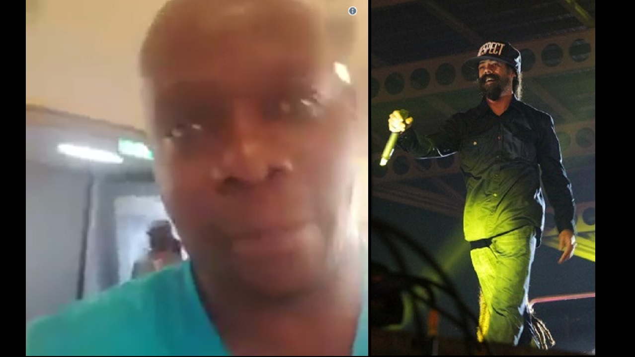 At left is a screenshot of the video Chiko Lawi (foreground) shared on social media. Damian Marley, who is pictured right, is partially visible in the shot.