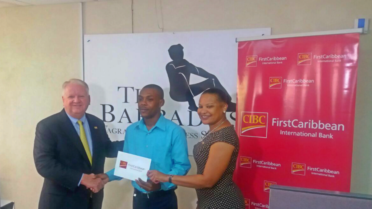 From left to right: CEO of CIBC FirstCaribbean Mr Gary Brown, President and Founder of the Barbados Vagrants and Homeless Society Mr Kemar Saffrey, Manager and Director of CIBC FirstCaribbean Ms Donna Wellington.