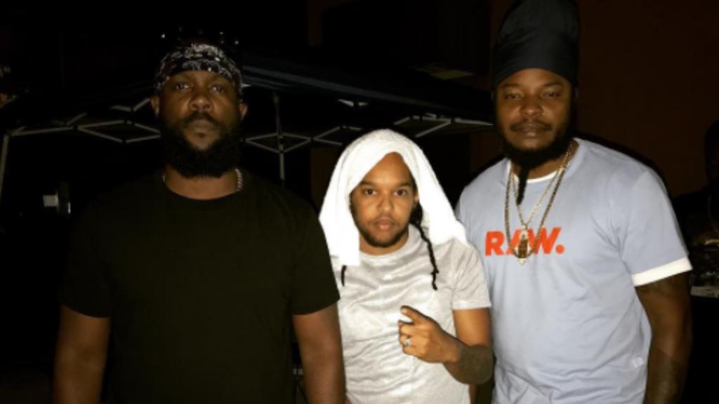 (l-r) Bunji Garlin, Orlando Octave, and U.S. Virgin Islands reggae singer Pressure Busspipe backstage Powder Fete.