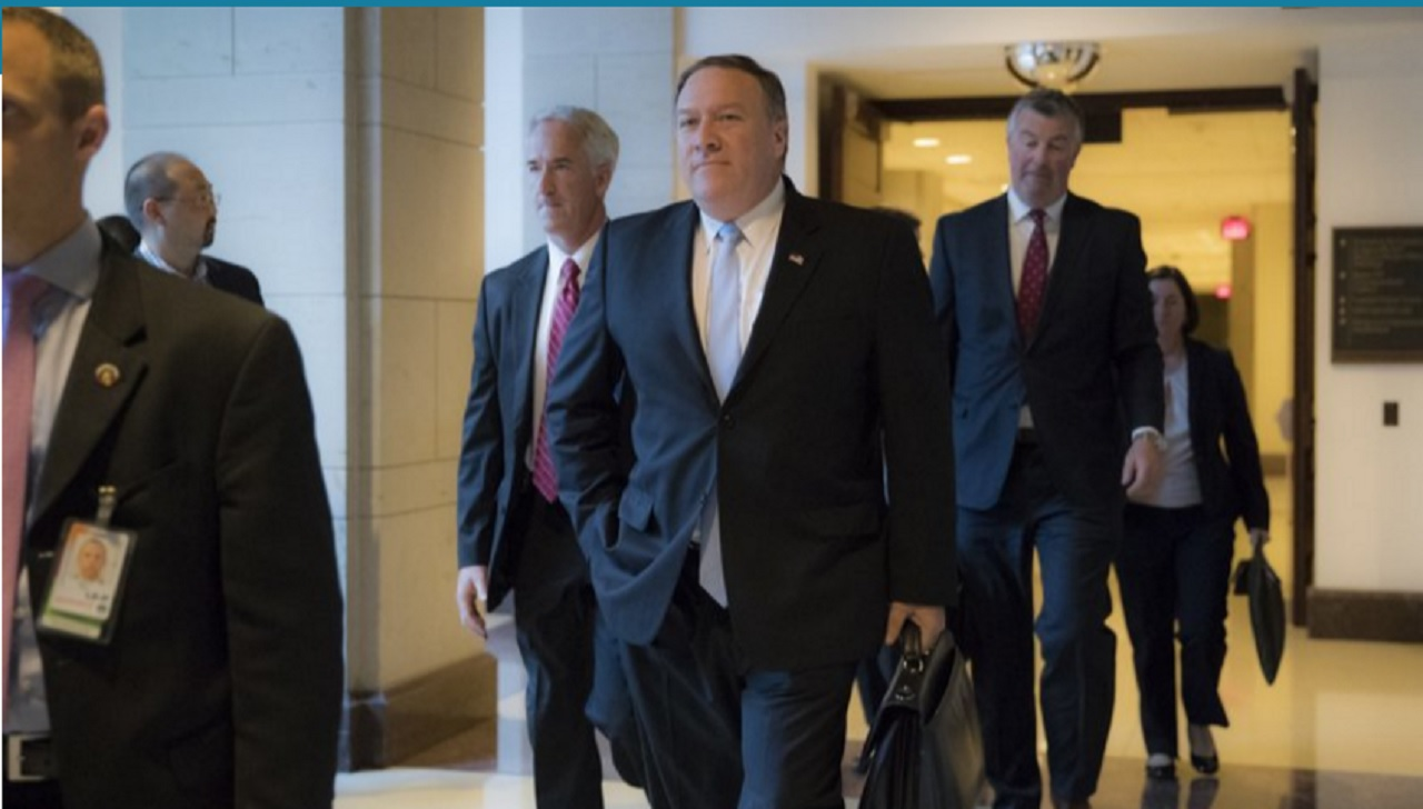 CIA Diector Mike Pompeo departs the Capitol after briefing members of the House Intelligence Committee in the aftermath of President Donald Trump reportedly sharing classified information with two Russian diplomats during a meeting in the Oval Office, in Washington, Tuesday, May 16, 2017.