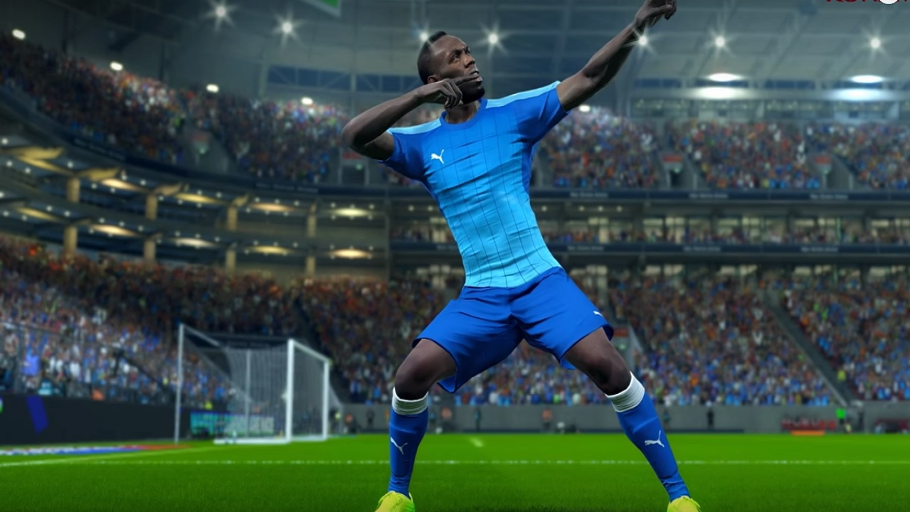 An image of the Usain Bolt character doing his trademark pose after scoring a goal in Pro Evolution Soccer.