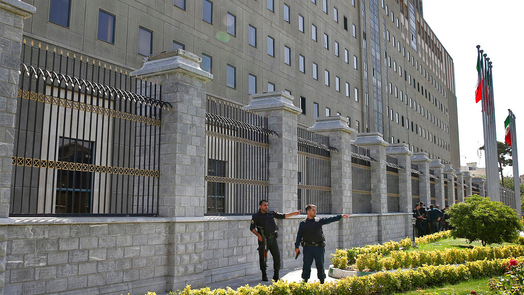 Police patrol outside Iran's parliament building after an assault by several attackers that was claimed by the Islamic State group, in Tehran, Iran, Wednesday, June 7, 2017. (AP Photo/Ebrahim Noroozi)