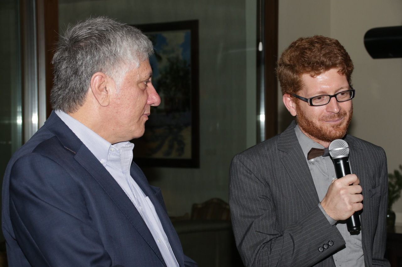 US Embassy's  Counselor for Public Affairs Joshua Polacheck (right) addresses guests at a farewell event held in his honour on Thursday. Ambassador Luis Moreno looks on. (PHOTO: Llewellyn Wynter)