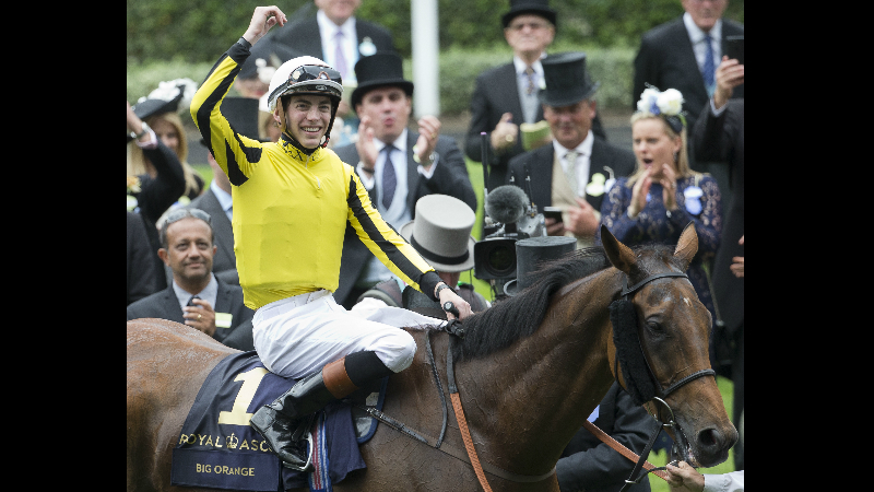 Jockey James Doyle, on Big Orange celebrates in the winners enclosure after winning the Gold Cup horse race on the third day of the Royal Ascot horse race meeting, which is traditionally known as Ladies Day, in Ascot, England Thursday, June 22, 2017. (AP Photo/Alastair Grant)